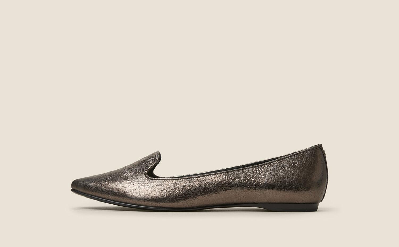 Donna Karan Crinkled Metallic Flat In Pewter