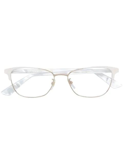 Gucci Cat Eye Frame Glasses In White