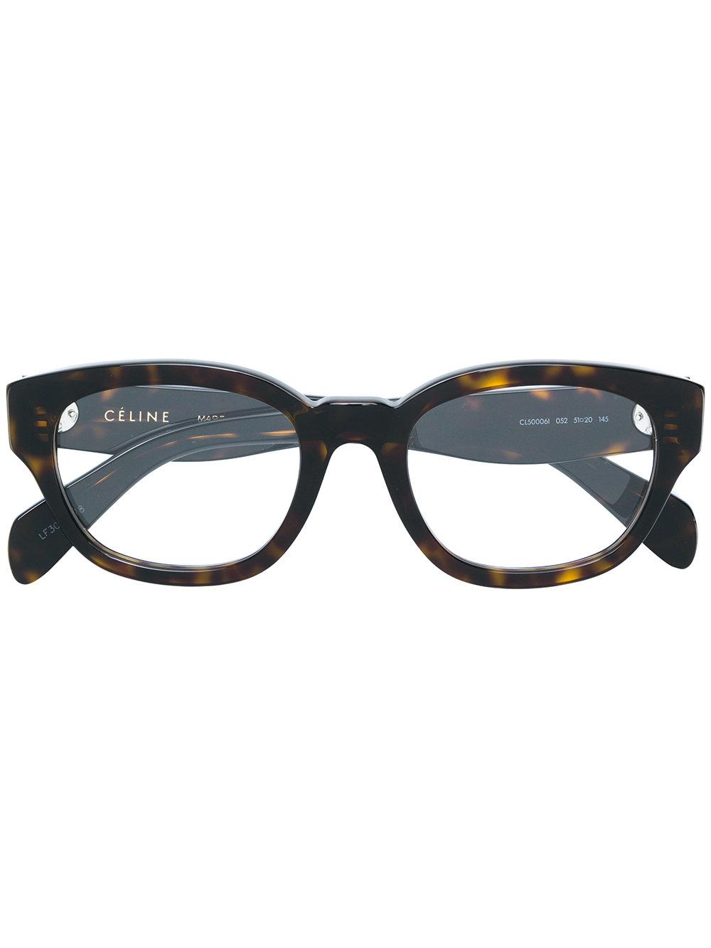 Celine Tortoiseshell Round Frame Glasses In Brown