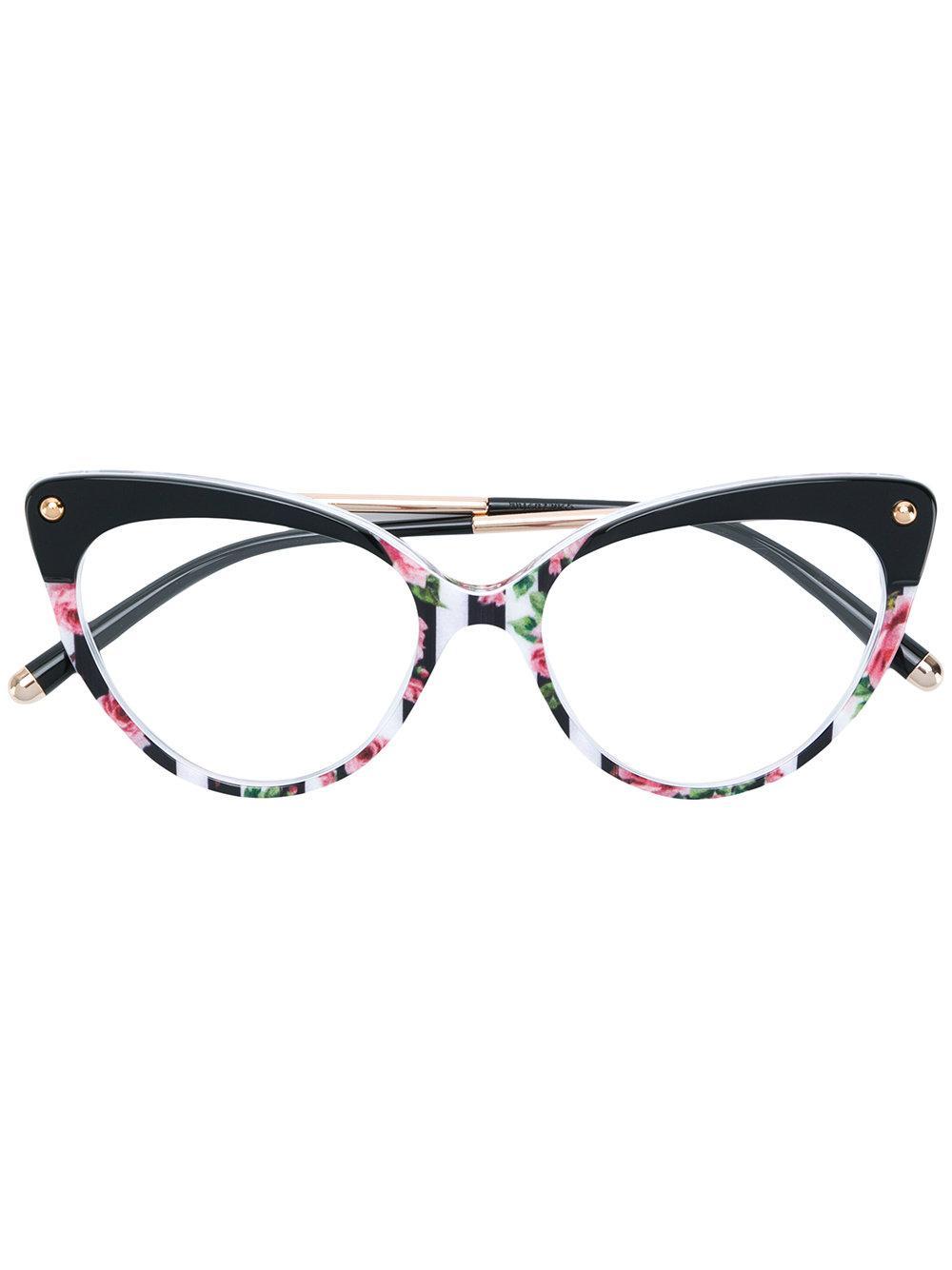 Dolce & Gabbana Cat Eye Frame Floral Print Glasses In Black