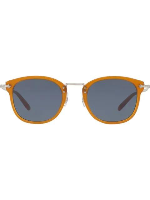 Oliver Peoples Square Frame Sunglasses In Yellow & Orange