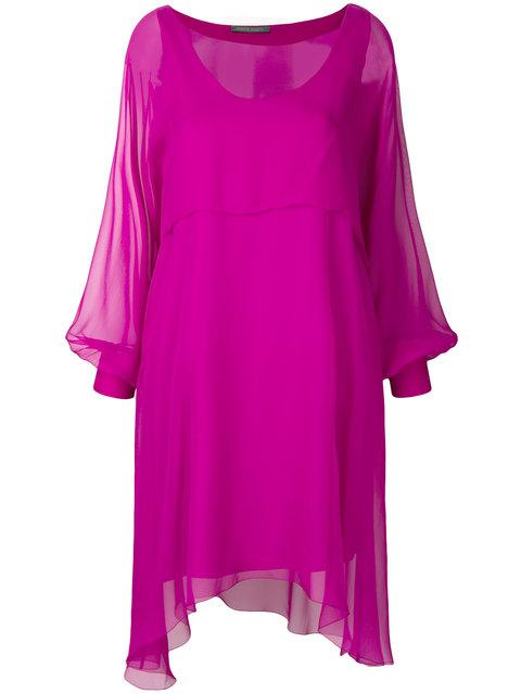 Alberta Ferretti Sheer Balloon Sleeve Mini Dress In Pink & Purple