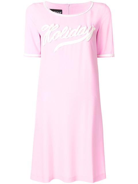 Boutique Moschino Holiday Applique T-shirt Dress - Pink