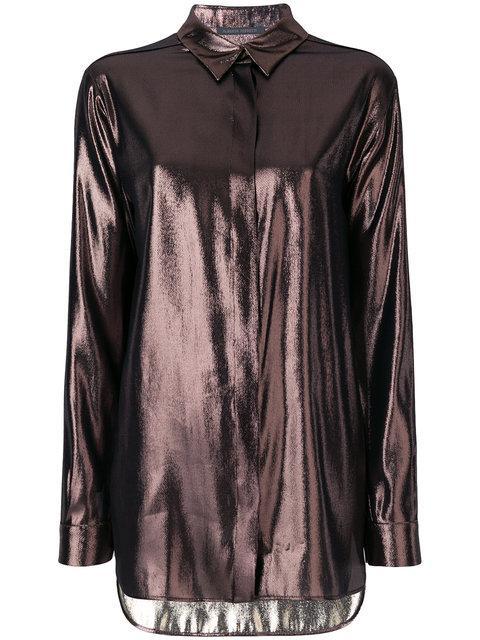 Alberta Ferretti Reflective Concealed Button Shirt