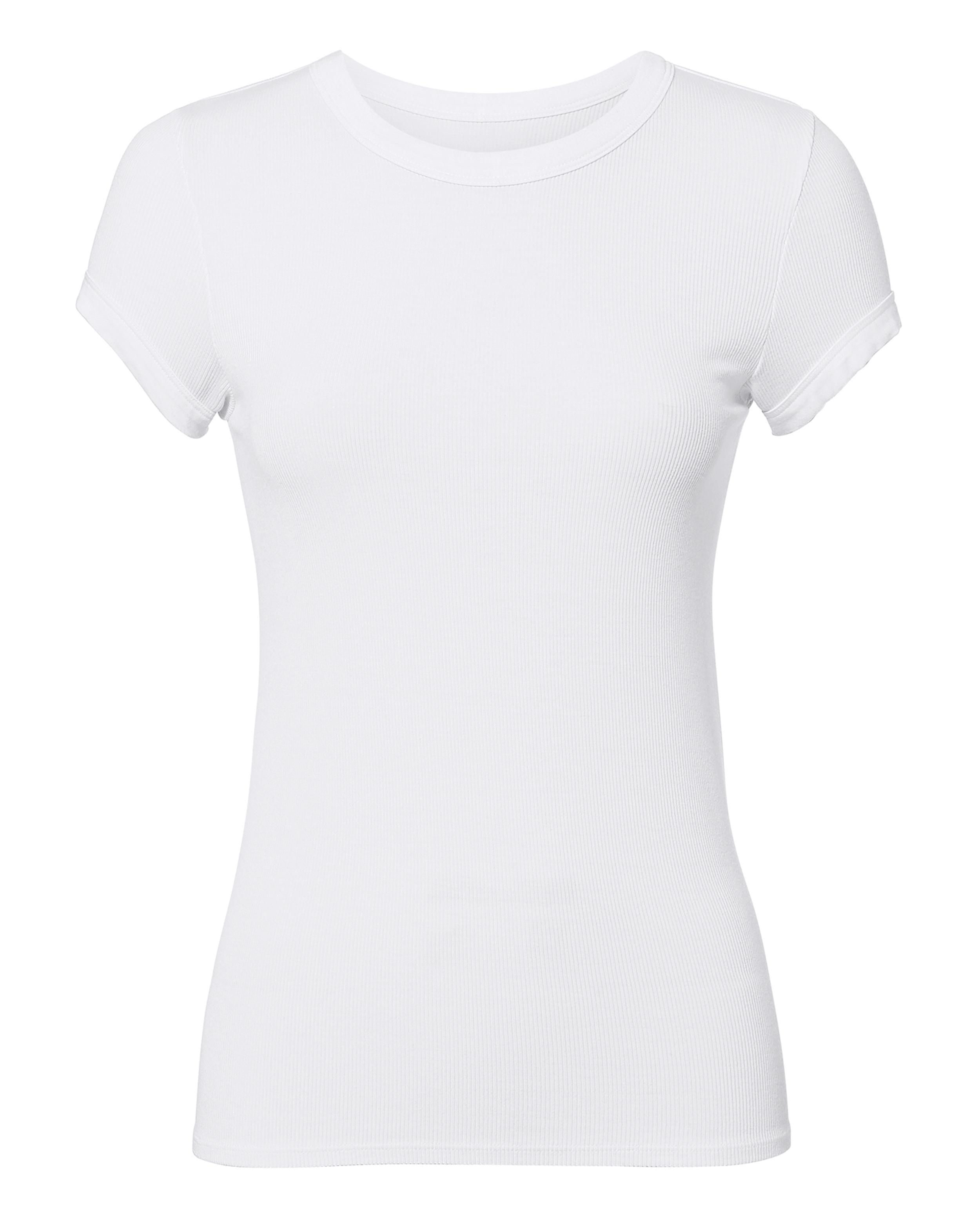 Enza Costa Cap Sleeve Rib White T-shirt