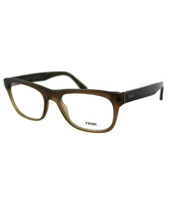Fendi Rectangle Plastic Eyeglasses In Matt Brown