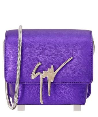 Giuseppe Zanotti Logo Leather Shoulder Bag In Purple