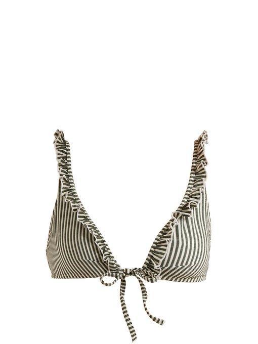 Solid & Striped - The Milly Ruffle Bikini Top - Womens - Green Stripe