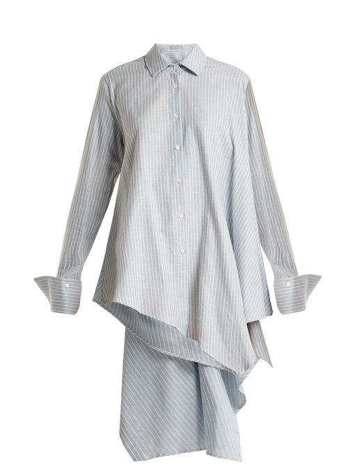 Palmer Harding Asymmetric Adjustable Open-back Pinstripe Shirt In Blue Stripe