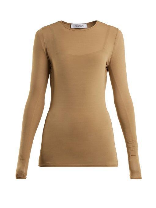 Max Mara Plava Long-sleeve Jersey Top In Camel