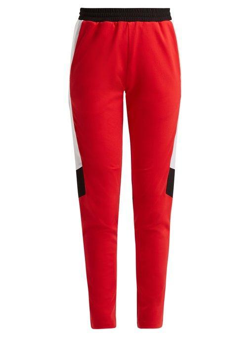 KochÉ Striped-detail Jersey Trousers In Red Multi