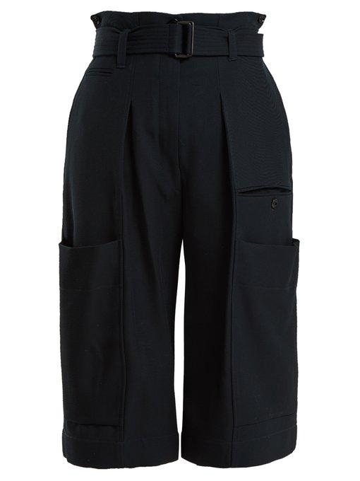Lemaire Pocket-Detailed Wool Trousers In Navy