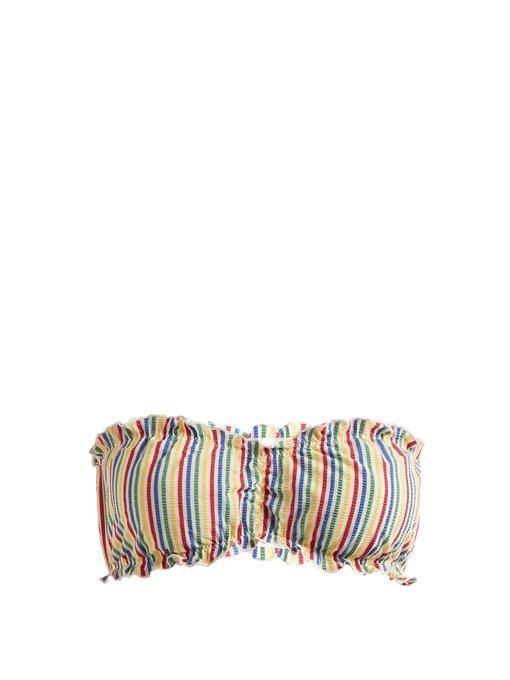 Solid & Striped - The Audrey Striped Seersucker Bandeau Bikini Top - Womens - Multi Stripe