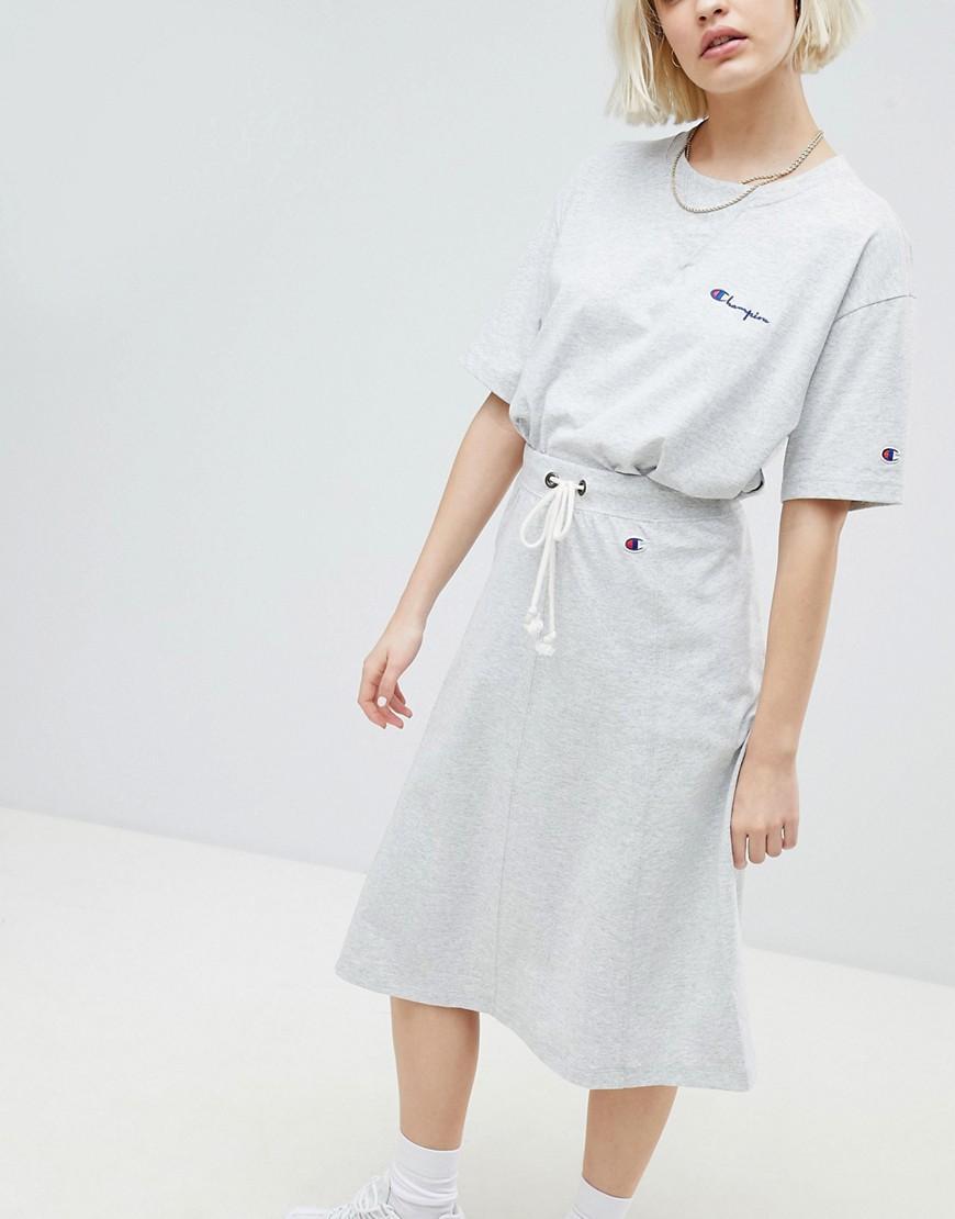 Champion Drawstring Midi Skirt With Side Logo - Gray