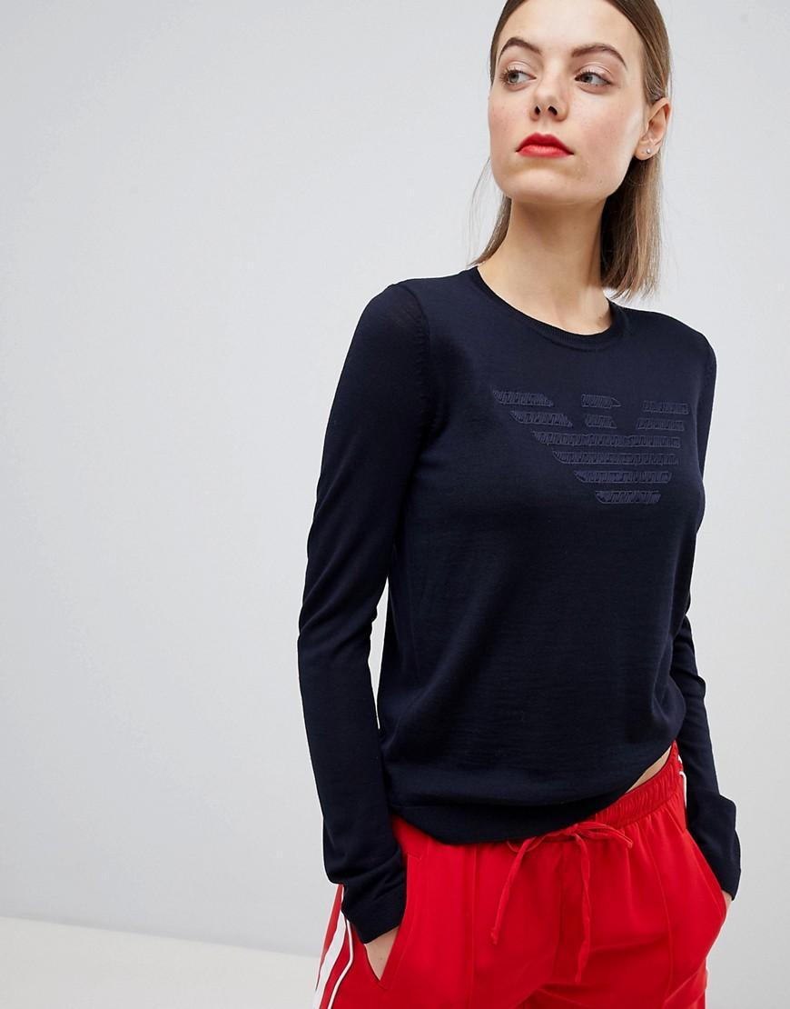 Emporio Armani Tonal Stitch Eagle Logo Sweater - Navy