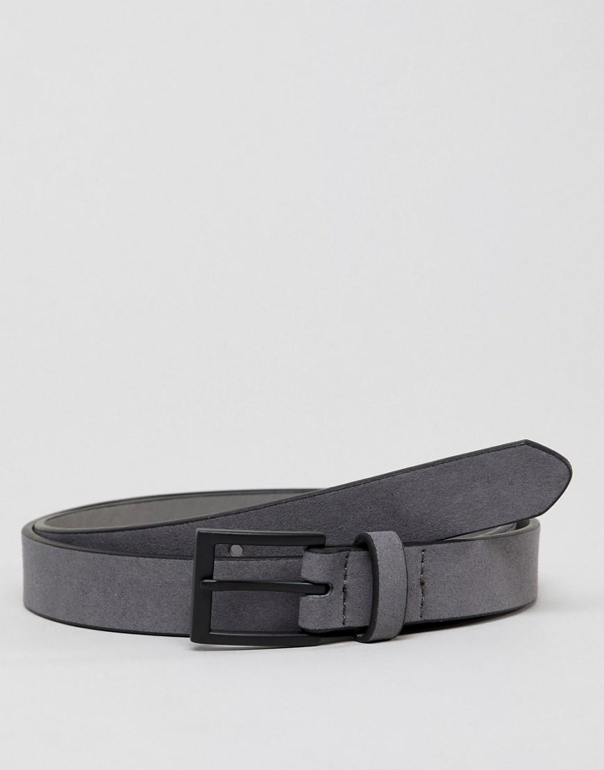 New Look Faux Suede Belt With Matte Buckle In Gray - Gray
