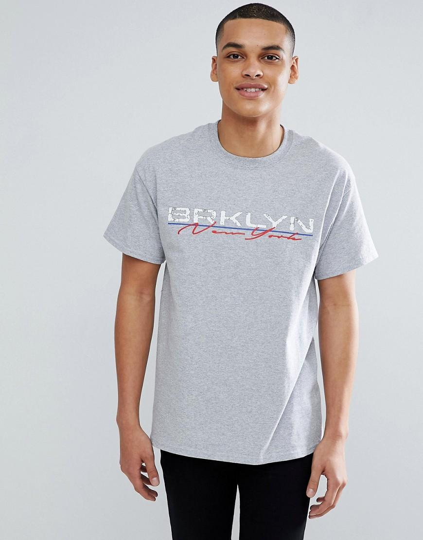New Look T-shirt With New York Print In Gray - Gray