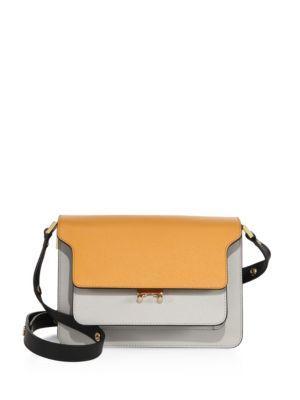 Marni Two-tone Leather Shoulder Bag In Pumpkin