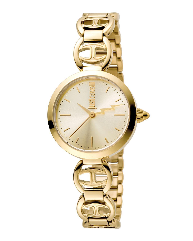 Just Cavalli 28Mm Ip Stainless Steel Logo Watch W/ Bracelet In Gold