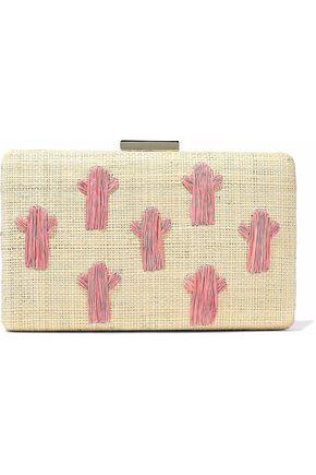 Kayu Woman Embroidered Straw Clutch Cream
