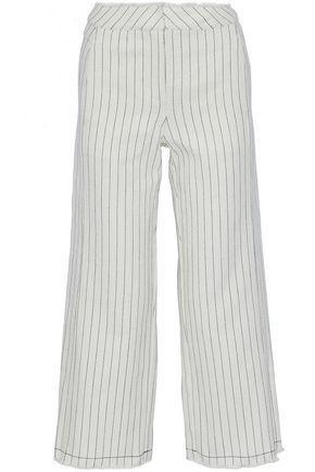 T By Alexander Wang Woman Frayed Striped Basketweave Cotton Wide-Leg Pants White