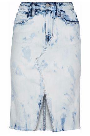 J Brand Woman Bleached Denim Skirt Light Denim