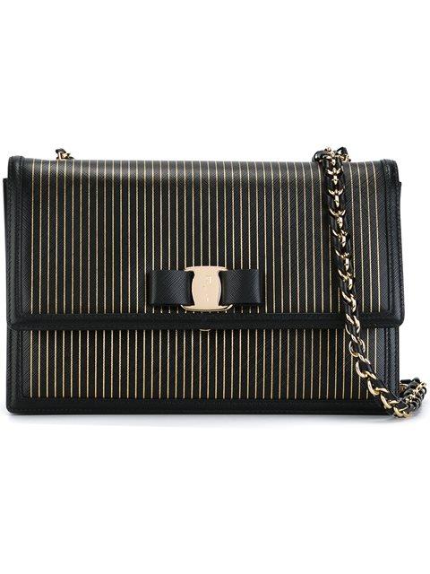 a326f61d9 Salvatore Ferragamo Ginny Striped Leather Shoulder Bag In Nero ...