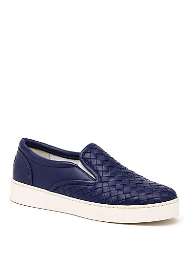 Bottega Veneta Napa Intrecciato Woven Skate Sneaker, Atlantic Blue