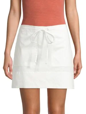 789c1ebb90 Theory Drawstring Stitched-Pocket Twill Mini Skirt In Ecru | ModeSens
