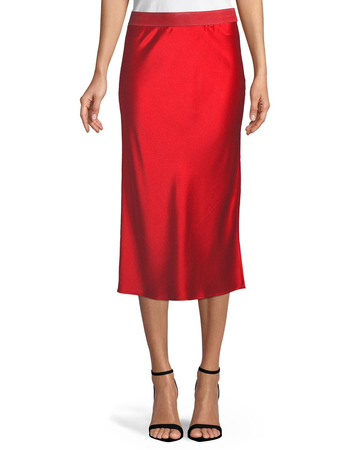 fff3230597a Theory Pull-On Silk Slip Midi Skirt In Fiery Red | ModeSens