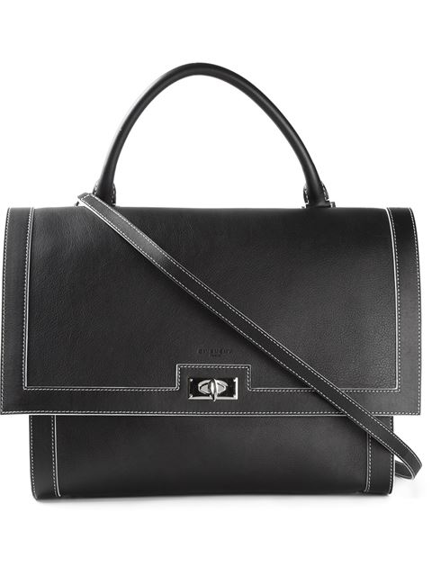 Givenchy Shark Small Waxy Leather Shoulder Bag, Black