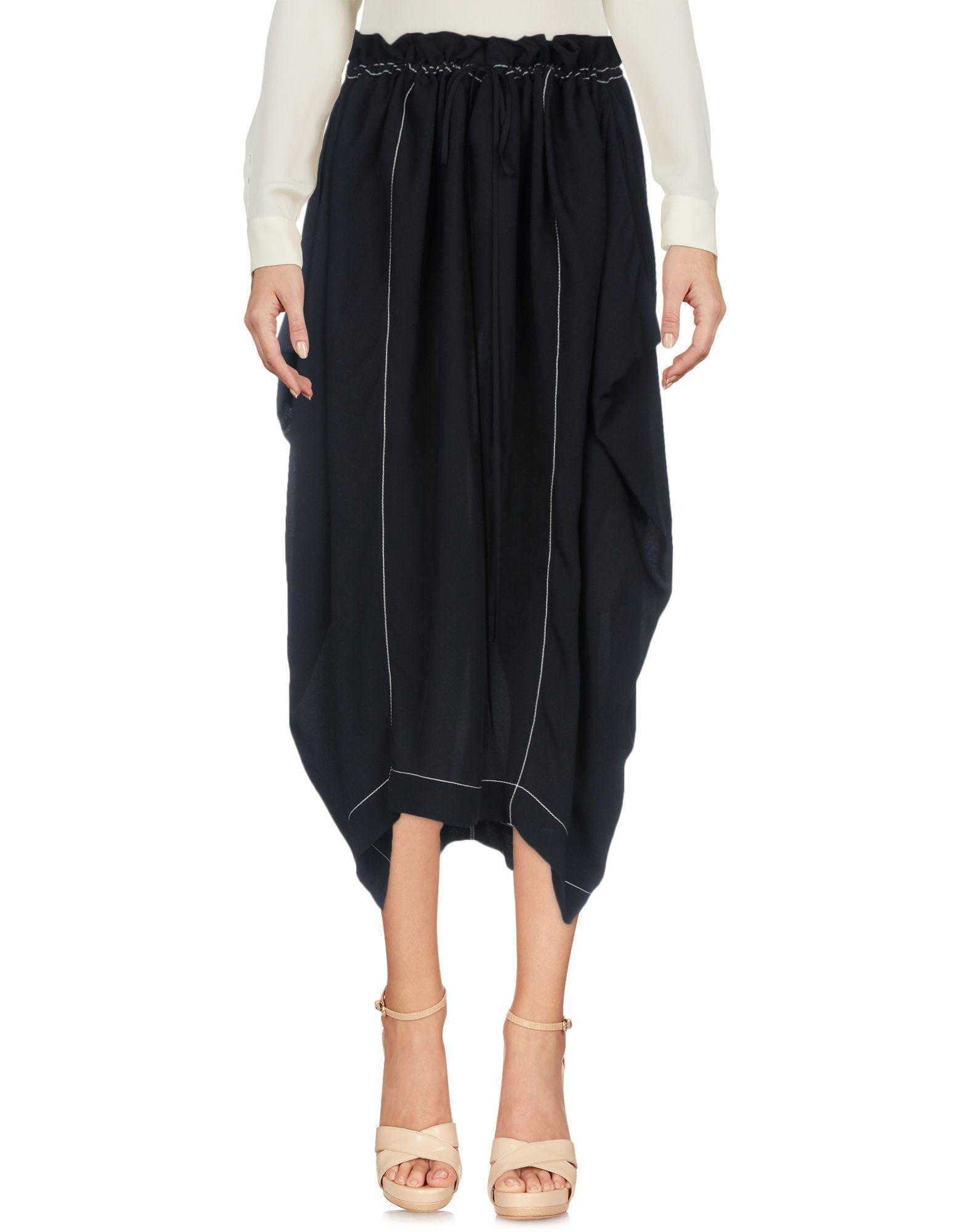 Stella Mccartney Midi Skirts In Dark Blue