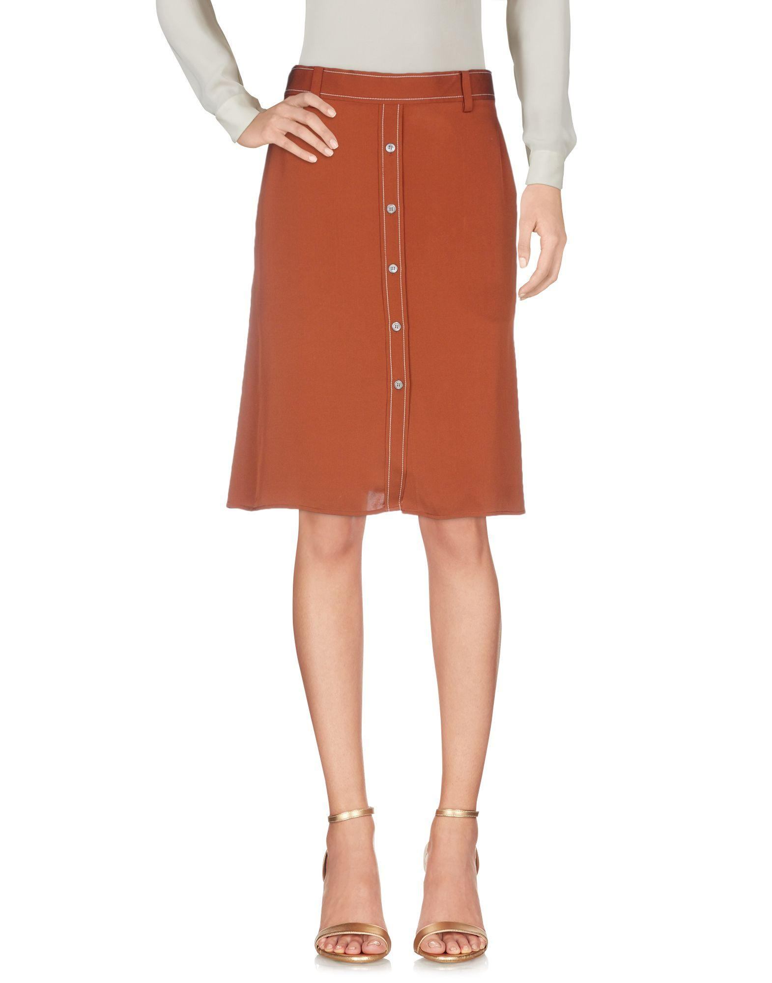 Theory Knee Length Skirts In Brown