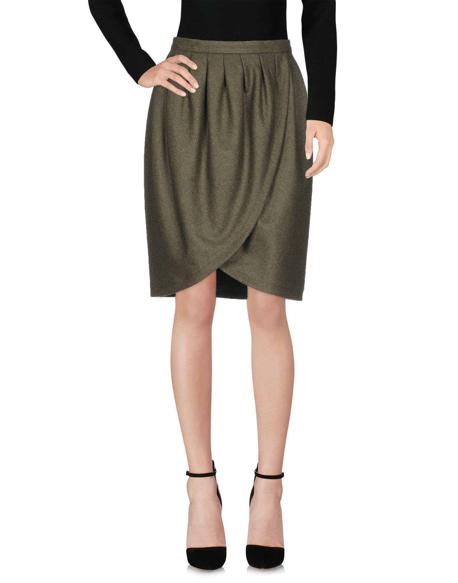 Michael Kors Knee Length Skirt In Military Green