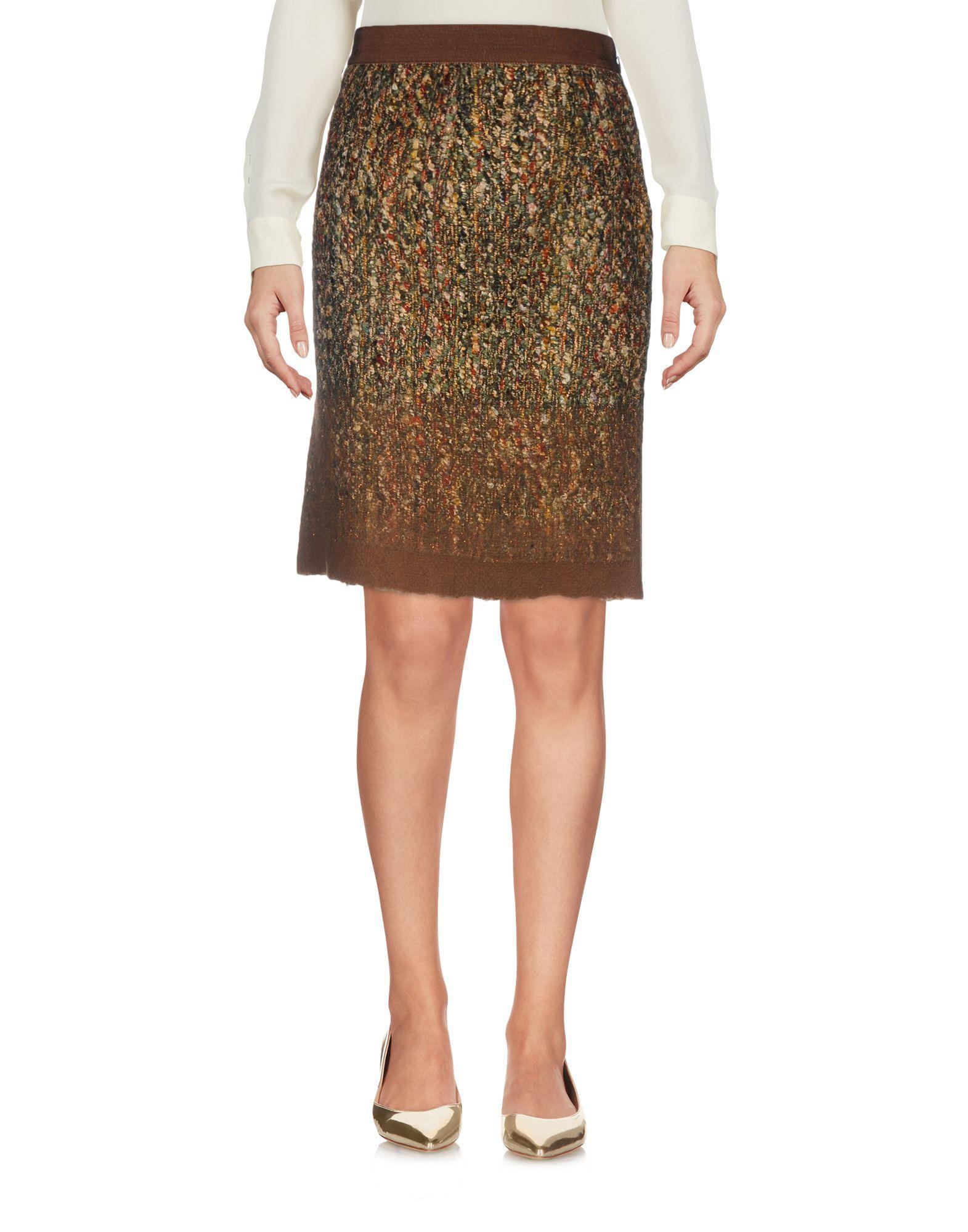 Alberta Ferretti Knee Length Skirt In Military Green
