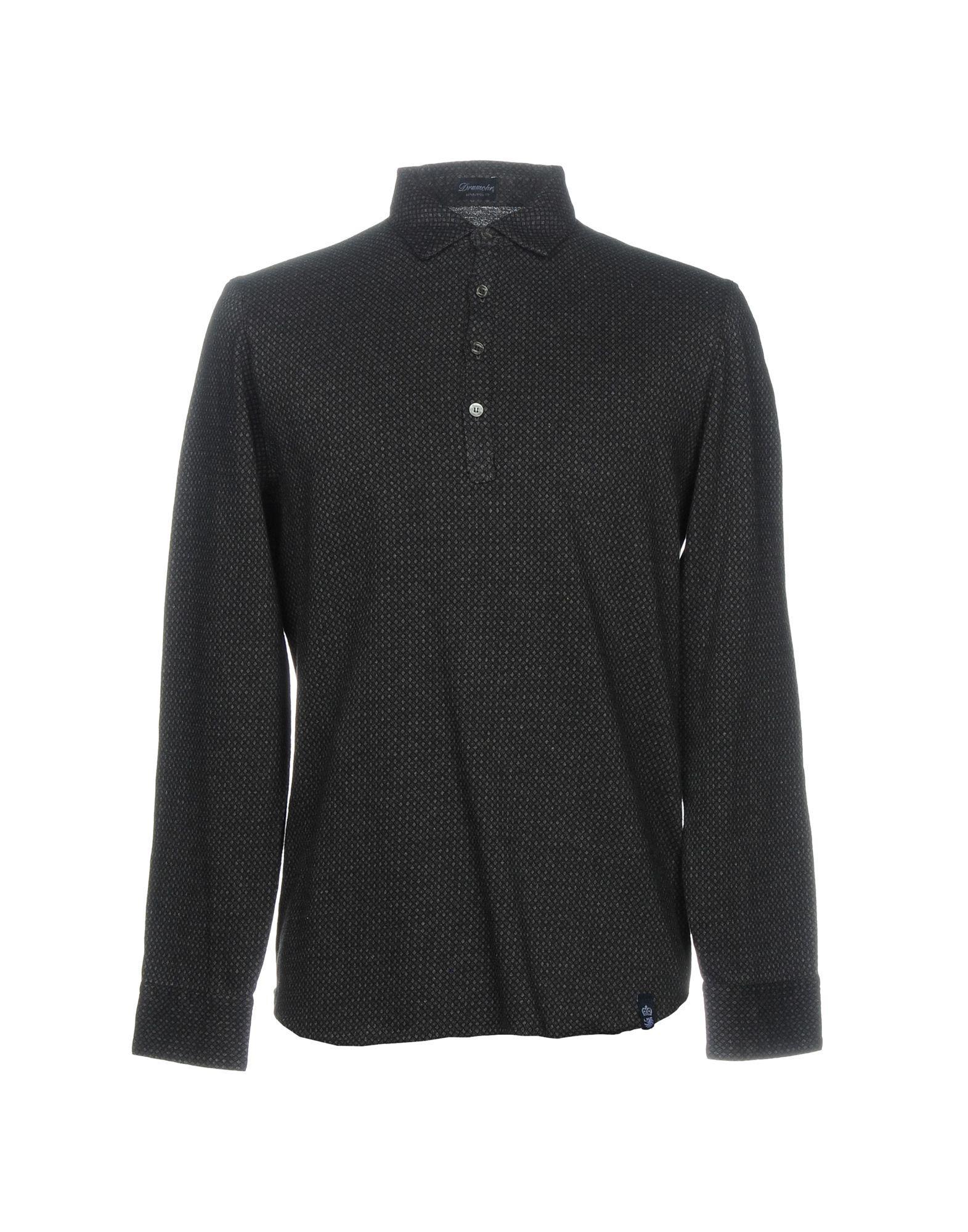 Drumohr Polo Shirts In Steel Grey