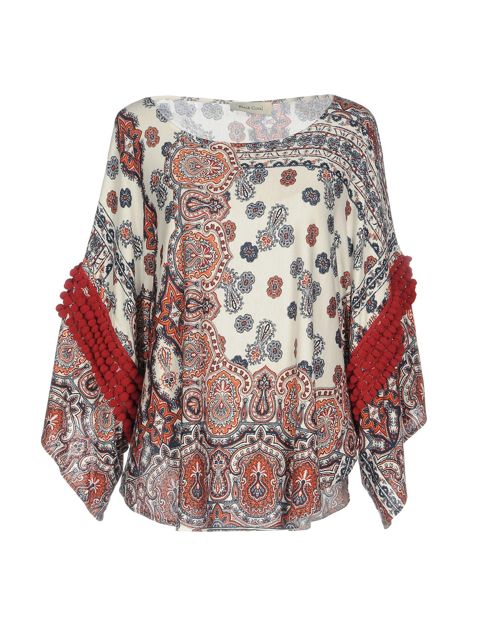 Black Coral Blouse In Red