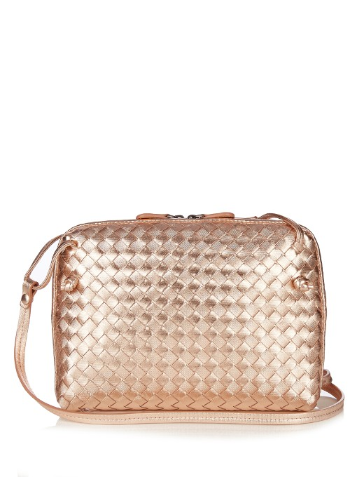 eeaf967f64 Bottega Veneta Nodini Intrecciato Leather Cross-Body Bag In Metallic  Rose-Gold
