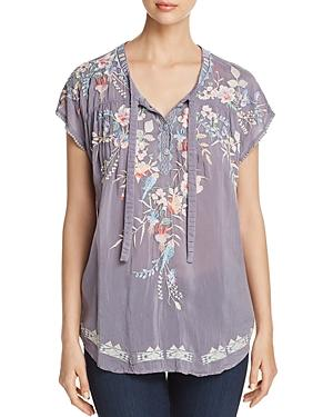Johnny Was Dreaming Embroidered Tie-front Blouse, Plus Size In Blue Steel