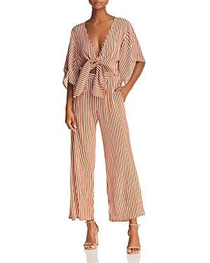 4c04f9cf7f7 Faithfull The Brand Tilos Stripe Tie Front Jumpsuit In Brighton Stripe Print  Cinnamon