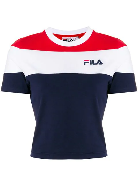 0a8ab1b27c59e Fila Cropped Stripe Print T-Shirt In Black   ModeSens