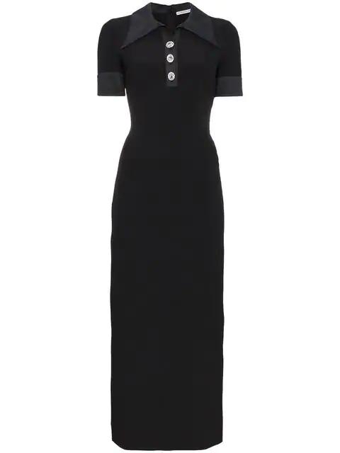 Alessandra Rich Sable Nurse Crystal-Embellished Dress In Black