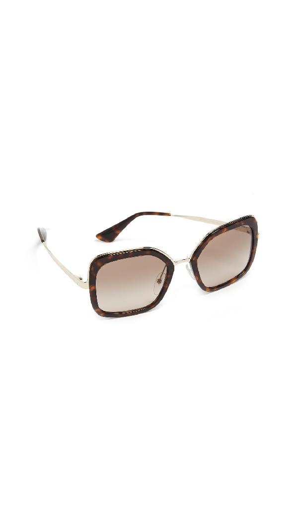 Prada Oversized Square Sunglasses In Havana/Brown Grey