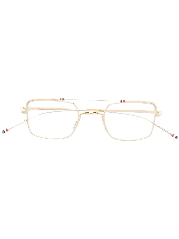 6fb737fb3d Thom Browne Eyewear Aviator Square-Frame Glasses - Metallic | ModeSens