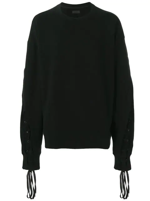 D.Gnak By Kang.D Lace-Up Sleeve Sweatshirt In Black