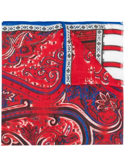 Etro Mixed Print Scarf - Red