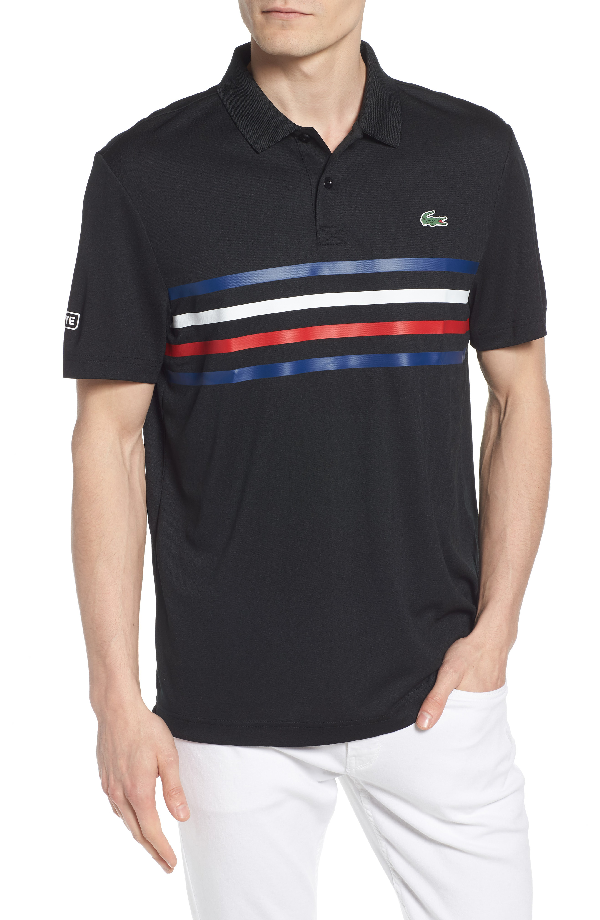 5d3bf2db1e Lacoste Sport Colored Bands Technical Pique Tennis Polo In Black/  Marino-White-Red