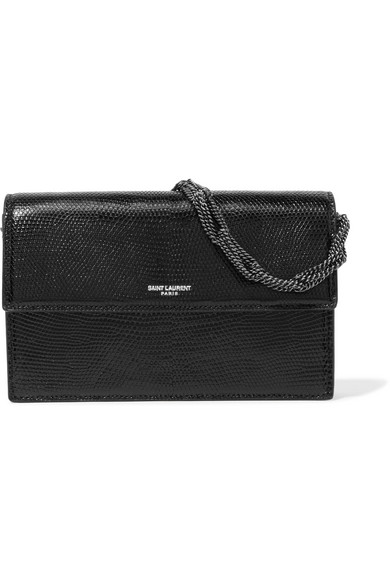 695555156d0 Saint Laurent Pochette Small Lizard Shoulder Bag In Noir