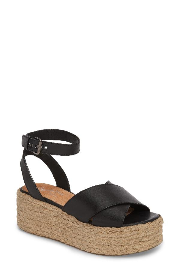 29bccaa683 Seychelles Platform Espadrille Sandal In Black Leather | ModeSens