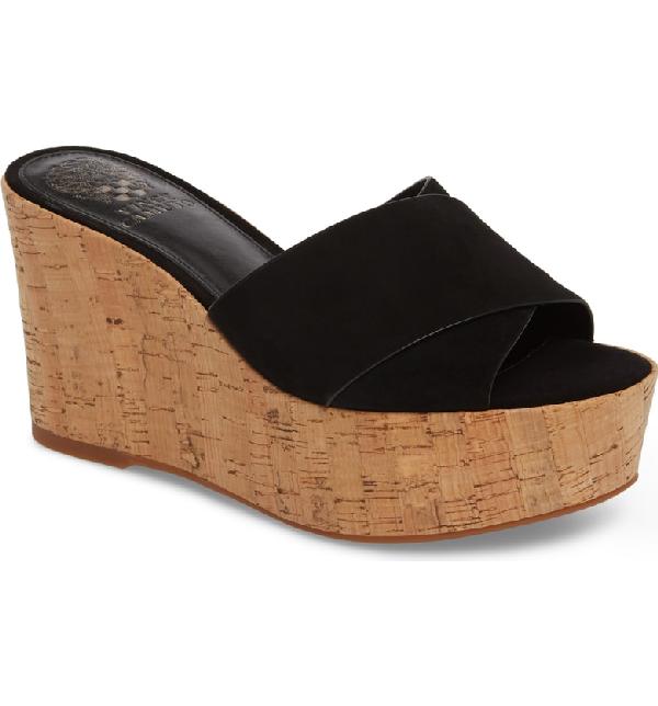 02b1663858da Vince Camuto Women s Kessina Leather   Cork Platform Wedge Slide Sandals In  Black Suede